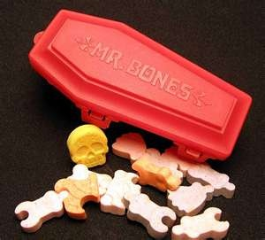 interlocking skeleton candies. You can buy something like this at oriental trading company at http://www.orientaltrading.com/api/search?Ntt=skeleton+candy