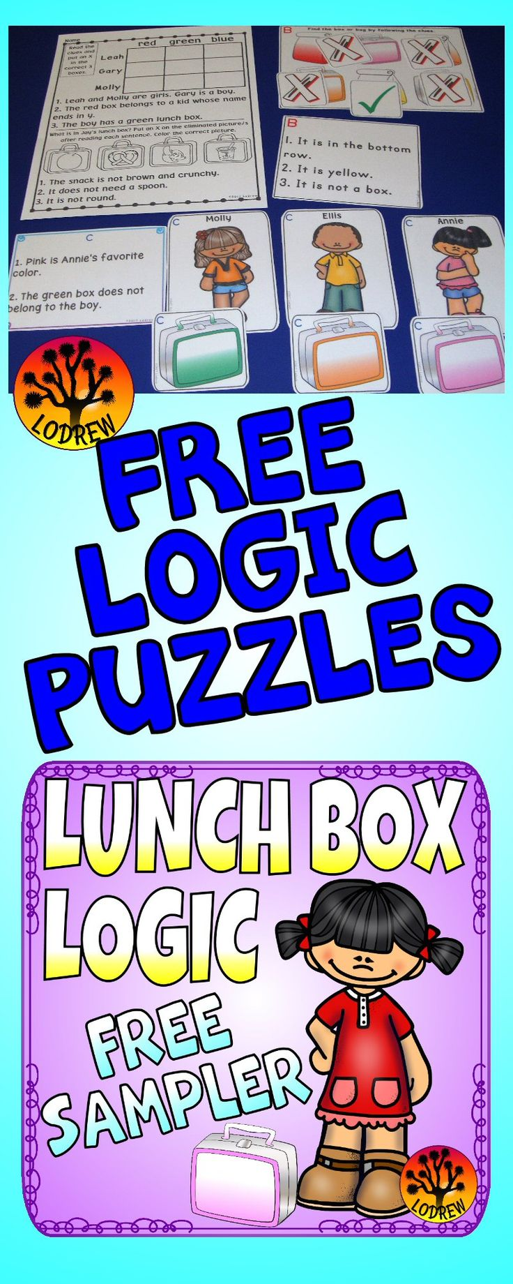FREE logic puzzles in a lunch box theme. Activities include reading, critical thinking, using logic, colors, sight words, reading comprehension, drawing conclusions, comparing, task cards, lunchbox centers, food centers, lunch bags, positions, hands on problem solving, ordinal positions, true or false, literacy, math, no prep, and more. For kindergarten, first grade, preschool, SPED, child care, homeschool, or any early childhood setting.