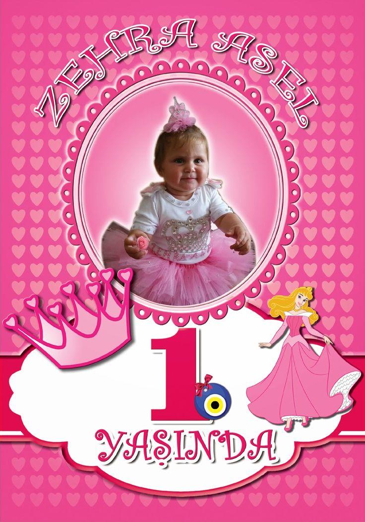 Bebeğim Butik Tasarımlar: Prenses Temalı 1 yaş Doğum günü Afiş ve Çerçevesi
