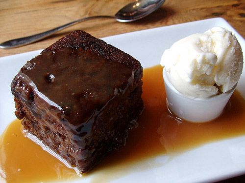 Sticky toffee pudding served with ice cream-- favorite of Duchess of Cambridge