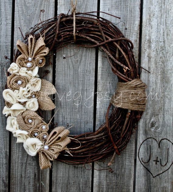 Rustic wreath with burlap & pearls- all you have to do is figure out how to make these burlap flowers or make a form of them to your own taste and this is absolutely a DIY Wreath :))