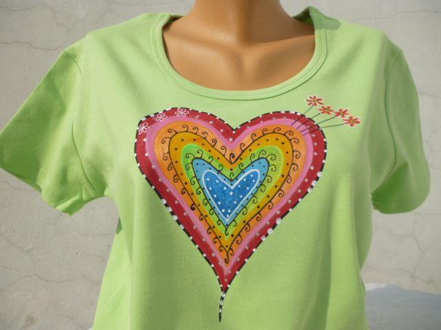 Zelené srdce vel.XXL Ručně malované srdeční tričko, 100% ba, obvod hrudi: 104cm, délka: 70cm, možné vel.S-XXL, Prát i žehlit porubu do 40.