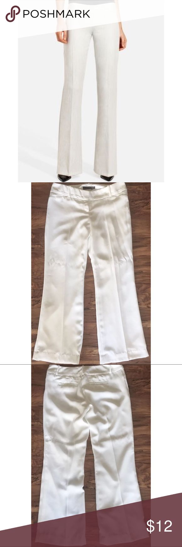 """The Limited Womens White Slacks Drew Fit Size 10 The Limited women's Pure white slacks drew fit size 10    Style # P74T5321   Measurements-  Waist: 36""""  Rise: 9""""  Inseam: 31.5""""    The pants are in mint condition! The knees just need ironed!     Customer service is my #1 priority! I strive to not only meet, but to exceed the standard. If for any reason you are unhappy with your order, I will make it right!     Thank you for supporting small business! The Limited Pants Trousers"""