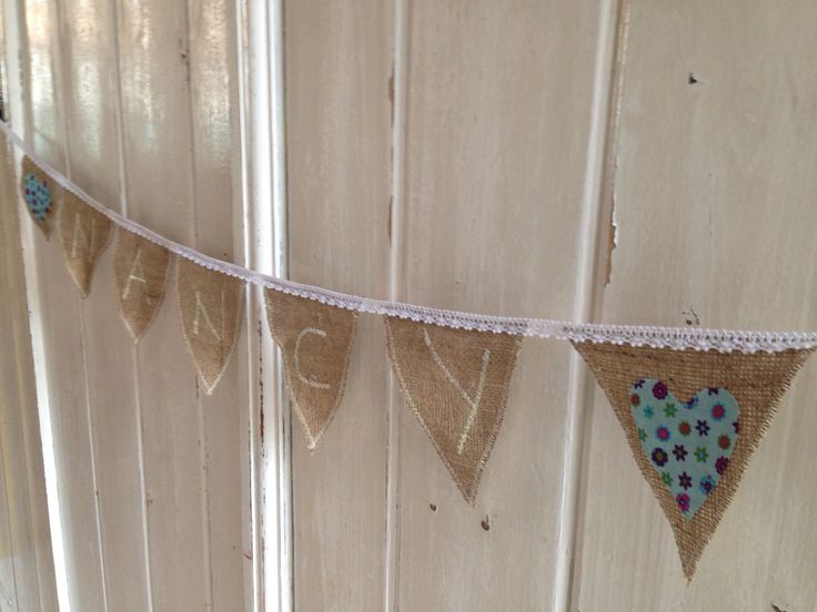 Birthday bunting made by Chloe for my beautiful cousins :) hemp and lace with sewing machine letters.