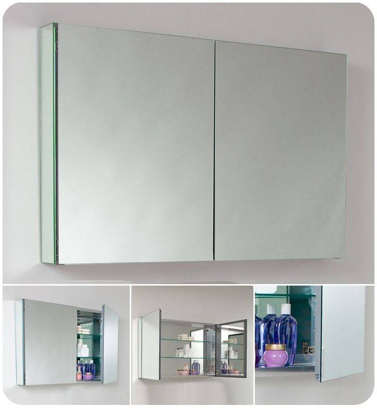 Fresca FMC8010 40 Double Door Frameless Medicine Cabinet With Two Glass Shelves Mirror Bathroom Storage Cabinets