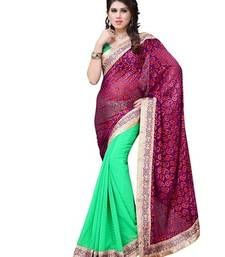 Buy Multi Embroidered georgette saree with blouse brasso-saree online