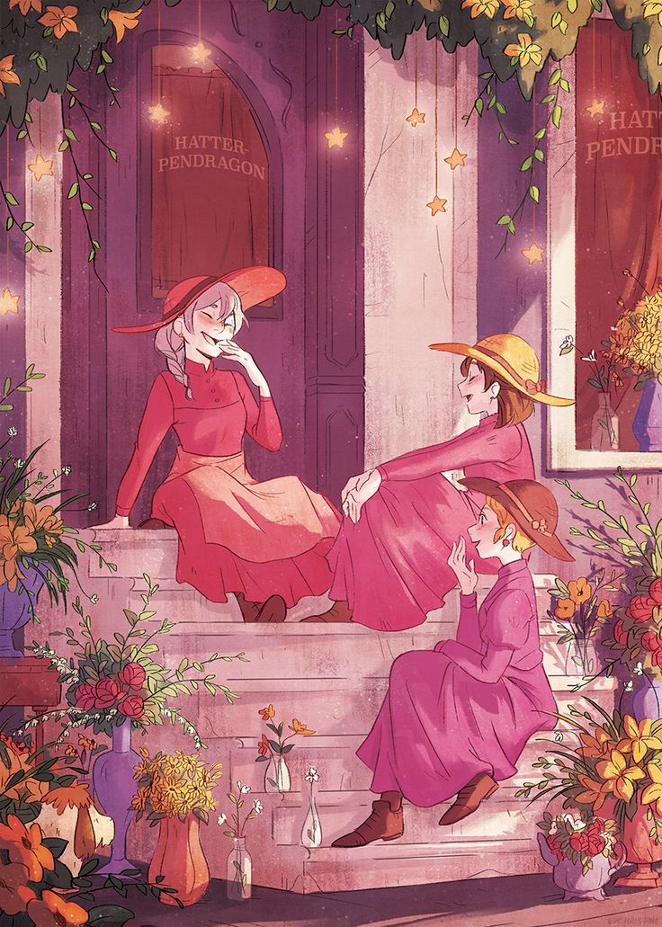 "eychristine: ""My full piece for @sibzine ! I chose the Hatter sisters visiting Sophie's new flower & magic shop that she runs with Howl *0* I'm super excited to see everyone's work in the physical book soon! You can still get the PDF version here!"