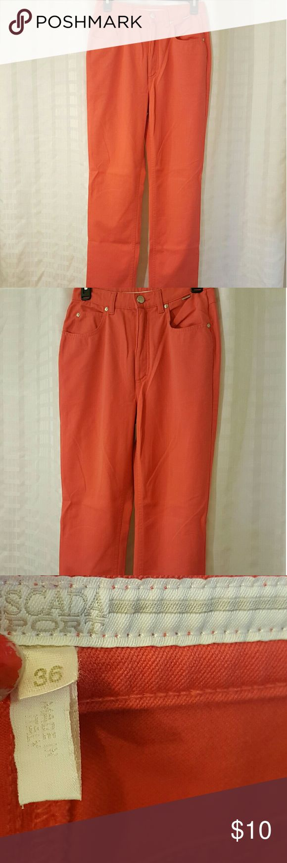 Escada Sport Pants - Made in Italy Escada Sport Pants- Made in Italy  Size - 36  Peach/Pink coloring  Great Condition  No rips  Flaw- in photo 5 you will see discoloration above the back pocket. These were/are unworn and I cleaned them and color bled onto them. It is very easily covered with a shirt. It is not a bright noticable spot but it is there sadly.  Stretchy and soft! Escada Jeans Skinny