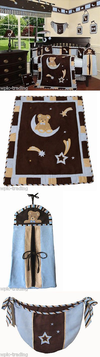 Nursery Bedding Sets 162040: Baby Boutique - Blue Bear And Moon - 13 Pcs Crib Bedding Set -> BUY IT NOW ONLY: $109.99 on eBay!