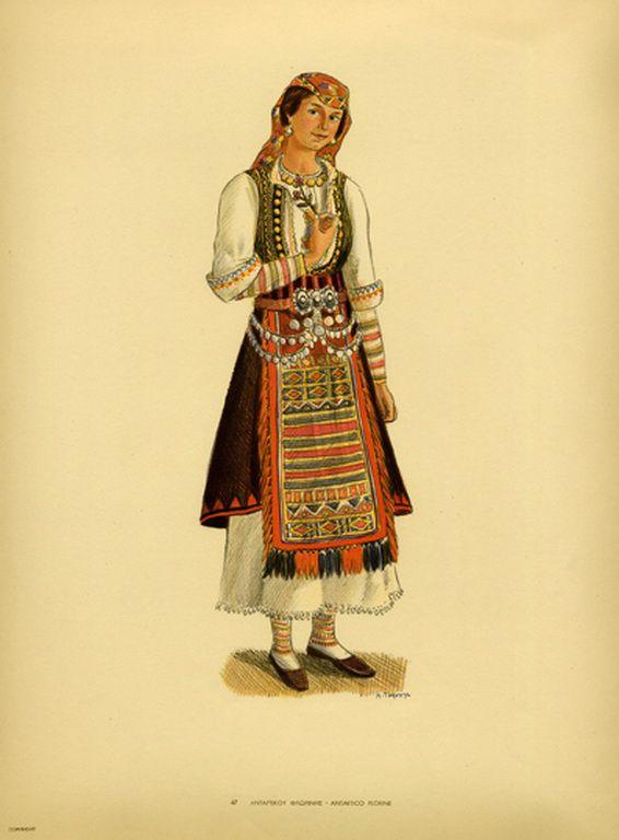 Φορεσιά Αντάρτικου Φλωρίνης. Costume from Antartico Frorine. Collection Peloponnesian Folklore Foundation, Nafplion. All rights reserved.