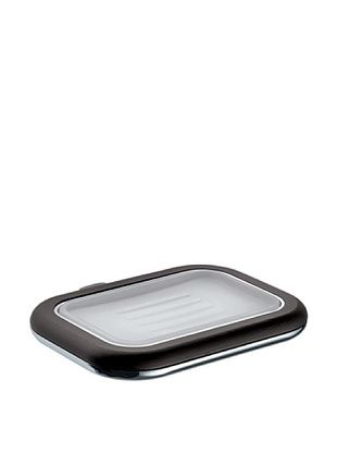 Gedy by Nameek's Odos Collection Wall-Mountable Soap Dish, White/Polished Chrome/Wenge