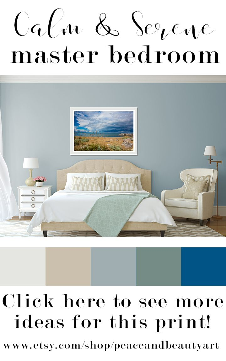 The Calm Color Palette Of This Relaxing Serene Master Bedroom Is Inspired By Nature The Large Fram Coastal Style Bedroom Coastal Bedrooms Home Decor Bedroom