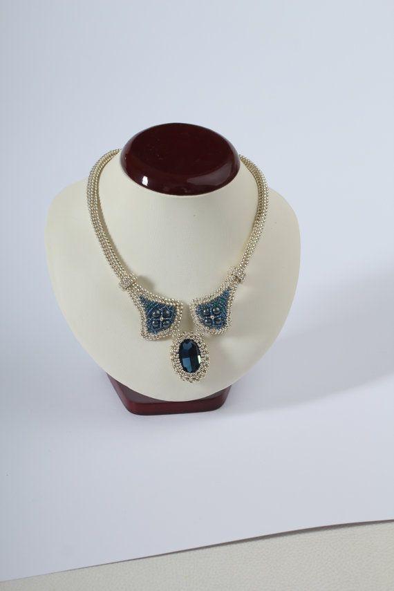Beadwoven Swarovski crystal necklace. Statement by Renarta on Etsy