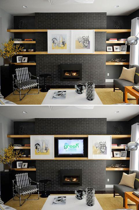 Hide Your TV! • DIY Projects • Lots of Ideas & Tutorials! [love the sliding art over tv]