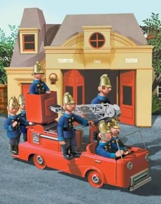 Trumpton Hue, Pew, Bernie,McGrew, Cuthbert, Dibble, Grub ( then the fire chief blew his whistle )  Ps there was never ever a fire in Trumpton, well wooden puppets are very fire conscious obviously !!  They did rescue a cat up a tree etc though