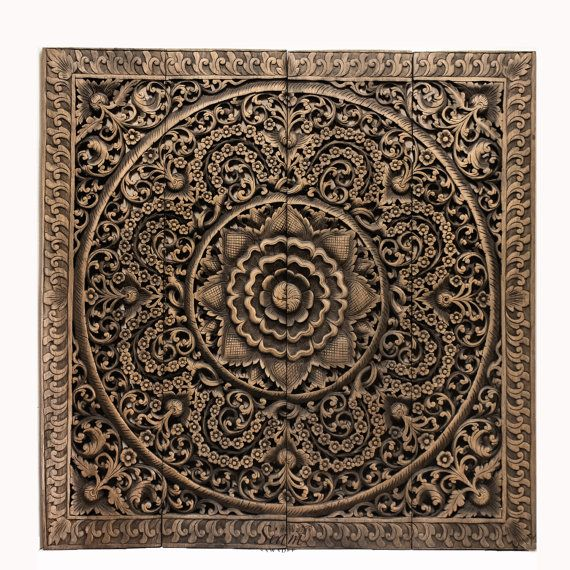 Thai wood carving wall art hanging or ceiling panel hand