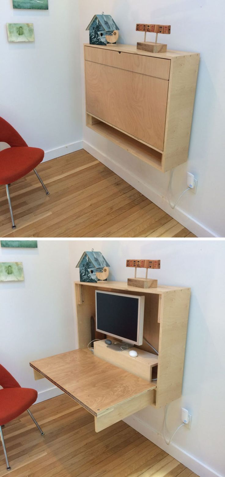 16 Wall Desk Ideas That Are Great For Small Spaces // If you're feeling ambitious you can also make your own custom fold up wall desk like this one to make sure it fits all of your needs.