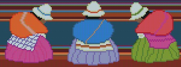 """PATRON PUNTO CRUZ  (Foto del Bordado Virtual)  """" Escena Boliviana I """"  Para bordar con Hilos DMC  150 Puntos de Ancho  56 Puntos de Alto. http://puntocruzandino.weebly.com/"""