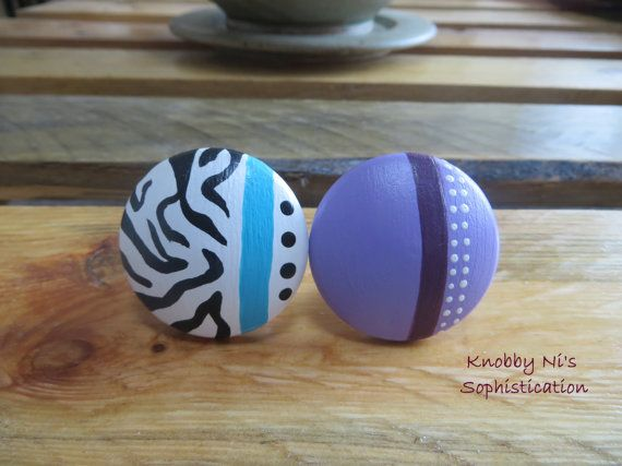 Modern Design Hand Painted Drawer Knobs / Dresser Pulls - Zebra and Purple Polka Dot