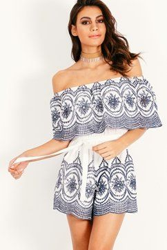 MIMI FRILL EMBROIDERED PLAYSUIT
