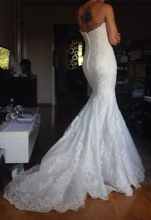 Simple Strapless lace Wedding Dresses Buttons Back Mermaid Bridal Gowns_Wholesale Wedding Dresses, Lace Prom Dresses, Long Formal Dresses, Affordable Prom Dresses - High Quality Wedding Dresses - Yesbabyonline.com