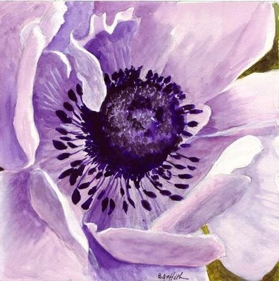 Bunny's Artwork: Purple Poppy Watercolor Painting