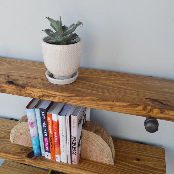 """Set of 3 - 8"""" Industrial Floating Shelves with Pipe Support Brackets, Industrial Shelving, Book Shelf, Display Shelf, Wood Plumbing Shelves"""
