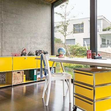 USM Haller private office, USM golden yellow, working essentials, USM mobile pedestal, USM sideboard
