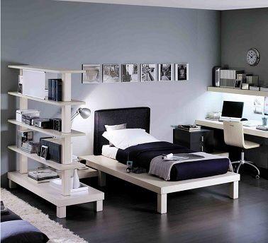 Une chambre d'ado fille contemporaine en noir et blanc pour une déco au top de la tendance hype ! ©RocheBobois