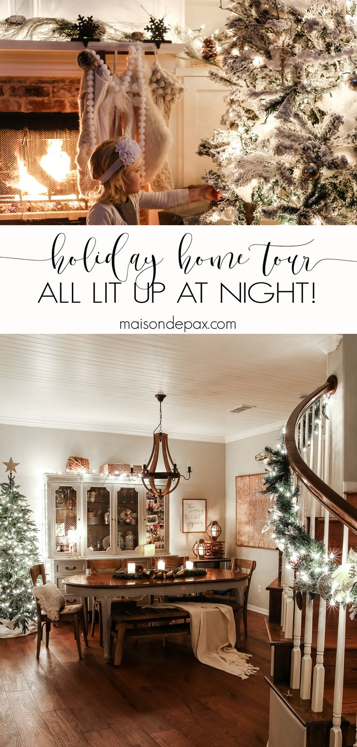 Christmas Lights at Night Holiday Home Tour
