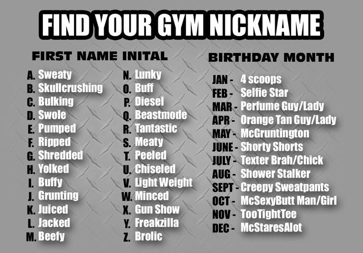 Funny Names: Gym Nicknames, Funny, Gym, Nicknames