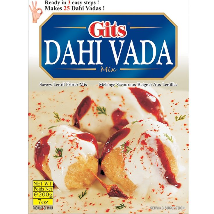 GITS DAHI VADA 200G - Gits dahi vada is pure vegetarian and it does not contain any preservative.Easy instruction is provided on the back side of the packet.