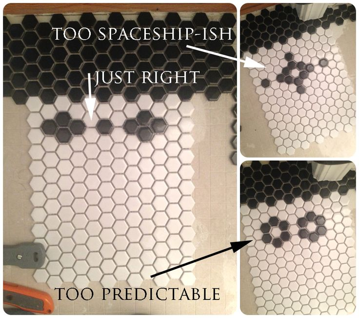 Hexagon Tile Border Pattern | took these ideas and applied them to our tiny bathroom. It wasn't ...