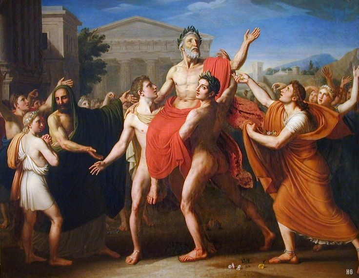 Diagoras of Rhodes carried in Triumph by his Sons during the Olympic games. 1814. Thomas Degeorge. French 1786-1845. oil /canvas. http://hadrian6.tumblr.com
