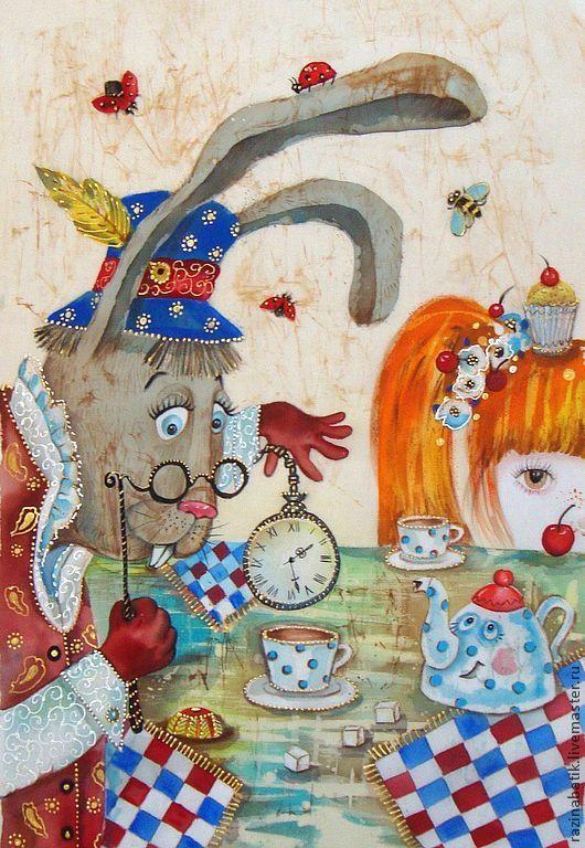"""Купить Безумное чаепитие """"Мартовский заяц и Алиса""""( батик панно) - бежевый, алиса в стране чудес"""