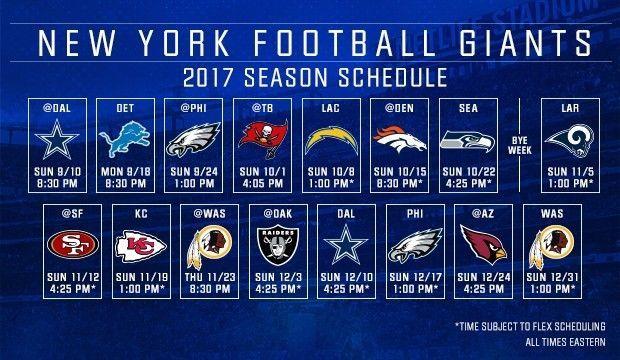 "2017-18 NEW YORK GIANTS NFL FOOTBALL SCHEDULE SEASON FRIDGE MAGNET (LARGE 4""X5"")"