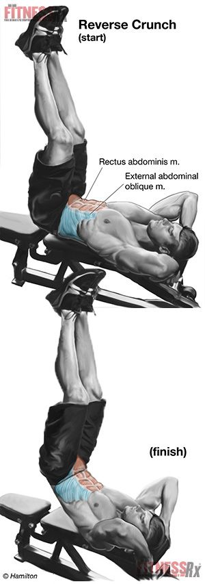 Reverse Crunch (lower abs) -- Great informative article on HOW and WHY to do reverse crunches. While doing this exercise, focus on your lower abs and do not use momentum while performing it.