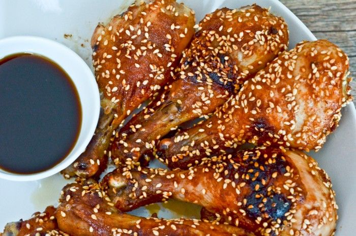 sesame-chicken... Tried it last night with chicken tenders instead of drum sticks.. Cooked for about 15min!! Delishhhh and easy! I will be making again soon :)