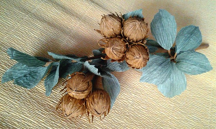 Hazelnut. Sweet design. Crepe paper flowers. Ветка фундука из гофры - 7 орехов