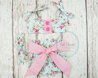 juego floral bebé juego, chicas burbuja cortos 1 traje de niñas cumpleaños, mameluco del bebé, chicas ropa, traje de bebé elegante, floral shabby, retro