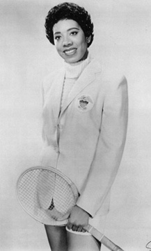 Althea Gibson, tennis player and professional golfer. She is the 1st African-American athlete of either gender to cross the color line of international tennis. She became the 1st person of color to win a Grand Slam title (the French Open). She also twice won both Wimbledon and the U.S. Nationals. In all she won 11 Grand Slam tournaments, including 6 doubles titles. In the early 1960s, she also became the 1st Black player to compete on the women's golf tour. R.I.P.
