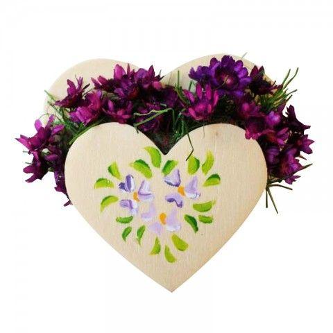 Kalp Saksıda Çiçekler
