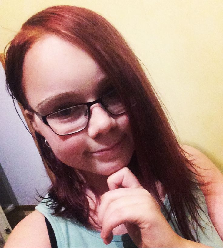 """My daughter in """"Cherry Red"""" hair colour."""