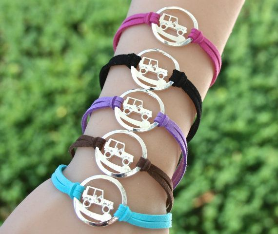 Jeep Rally - Infinity Circle Bracelet - Faux Suede Leather Cord Bracelet - Jeep Charm - Off Road Jeep Bracelet , Gift For Her , Under 15