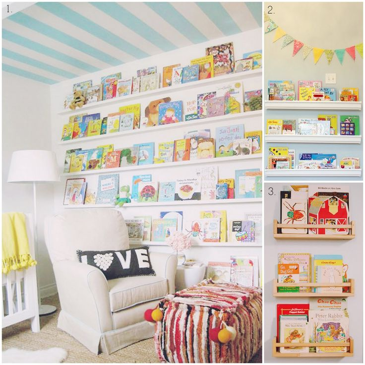 Love the spice rack bookshelves! (No. 3)  Could be a good way to store the books that are curently read in the living room (one for each kid)