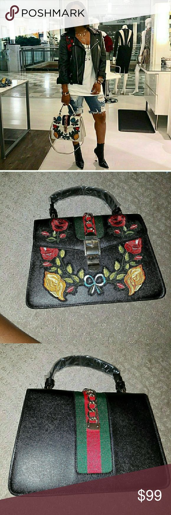 """Ivyvie Top Handle Bag The lvyie bag in a top handle shape with nylon web embedded under the smooth faux leather and decorated with a gold like finish chain and buckle. The bag is further enhanced with embroidered flower appliqués. I  Black is the ONLY COLOR in stock!  Price is self explanatory.   No brand tags per inside.  Measurements: 8.6x3.94x11in 23"""" inch drop strap included.  🔴PRICES FIRM LADIES 🔴 Gucci Bags"""