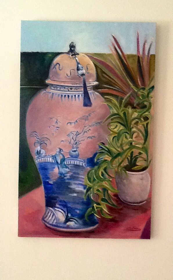 Another blue urn or temple jar painted on canvas this time softened by a variegated pot plant. Favourite household objects make good subjects and balance interiors.