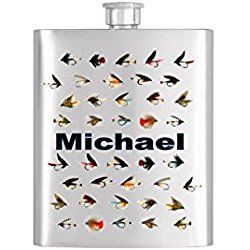 Fly Fishing Groomsmen Flask Personalized Stainless Steel Whiskey Flask - Flask# 348