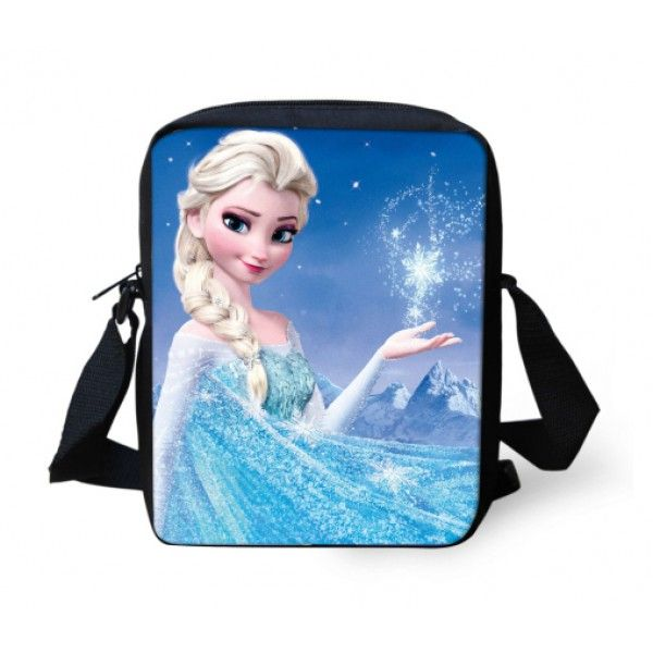 Frost skuldertaske med flot motiv af Elsa, kendt fra Disney filmen. God plads til en iPad mini eller andre ting der skal med på en tur ud af døren.