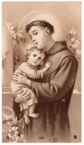 St. Anthony with Infant Jesus - Vintage Holy Card